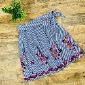Nine West Floral Striped Skirt embroidered